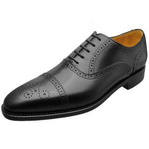 Berwick バーウィック 靴 メンズ ビジネスシューズ セミブローグ 2107 ブラック 本革|kanda-mimatsu
