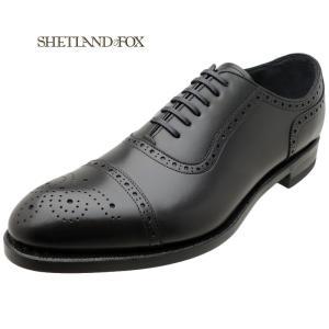 SHETLAND FOX シェットランド フォックス コベントリー セミブローグ 004FSF ブラック 本革 靴 メンズ ビジネスシューズ|kanda-mimatsu
