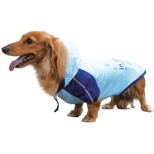 犬 カッパ レイン コート パーカー MD ブルー ペット 服 ドッグ ウェア レインコート 服 雨 雨具 フード 付き 四足 防水 お散歩 梅雨 対策 着脱 簡単 ドギーマン|kanedasyoten