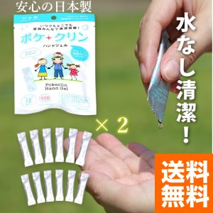 ポケクリン ハンドジェル アルコール 12包×2 携帯用 日本製 手 ジェル 清潔 エタノール 携帯 持ち運び 使い捨て 手指 清涼感 清涼剤 kanedasyoten