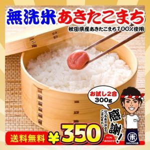 お米 お試し ポイント消化 送料無料 無洗米 秋田県産 あきたこまち 2合(300g)|kanekokome