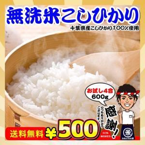 お米 お試し ポイント消化 送料無料 無洗米 千葉県産 コシヒカリ 4合(600g)|kanekokome