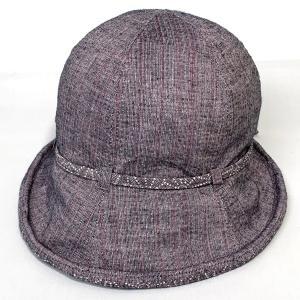 しじら織チューリップ 母の日 プレゼント ギフト 婦人 帽子 クロッシェ パープル系 kanekoya1958