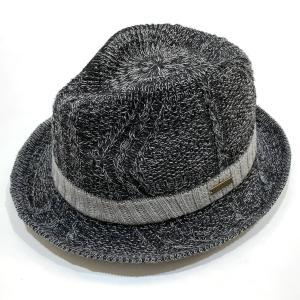 金古屋original(カネコヤオリジナル) ケーブルサーモナカオレ 紳士 男女兼用 中折 帽子 ハット アジャスター付き 父の日 ギフト 大きいサイズあり ブラック系|kanekoya1958