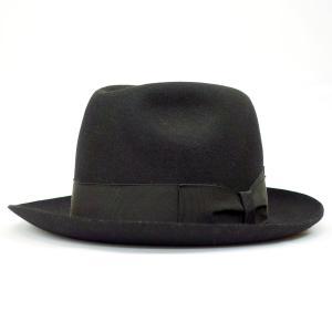 Borsalino AUGUST イタリア製 紳士 高級帽子 小さいサイズ 帽子 中折 ナカオレ ハット ファーフェルト プレゼント ブラック系 父の日ギフト|kanekoya1958