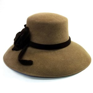 Anna Rizzo(アンナリッゾ) イタリア製 イタリーベロアセーラー 高級婦人帽子 ダークブラウン系|kanekoya1958