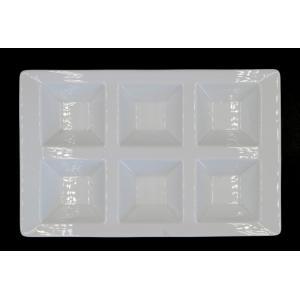 白磁6Pトレー 26.3×16.9×2.8(cm) 日本製 美濃焼 業務用食器 仕切り皿 取り分け皿 白磁 白磁のプレート モーニングプレート ビュッフェ皿 丈夫な皿 kaneroku