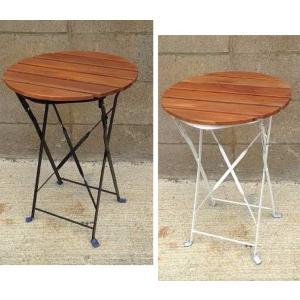 半屋外対応 天然木アカシア材 フォルディングサイドテーブル(PRE-T40)ブラック/ホワイトφ395×H565【送料無料】|kanesen-kagu