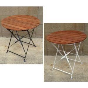 半屋外対応 天然木アカシア材 フォルディングテーブル(PRE-T60)ブラック/ホワイトφ600×H665【送料無料】|kanesen-kagu