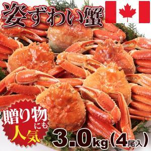 かに 蟹 カニ ずわい 送料無料 ボイル 姿 ズワイガニ 3kg (4尾入) 鮮度抜群 瞬間凍結 カナダ産|kani
