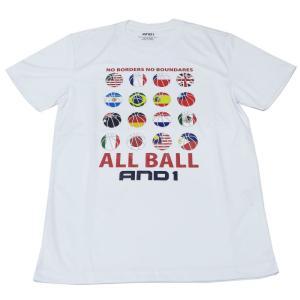 ■メール便選択で送料無料■ AND1 バスケット ALL BALL TEE Tシャツ 61107 ホワイト アンドワン ミニバス ダンス|kanisponet