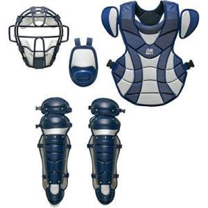 ZETT 展示会限定品 軟式防具4点セット(マスク、スロートガード、プロテクター、レガーツ) BL316A ネイビー×シルバー 野球|kanisponet