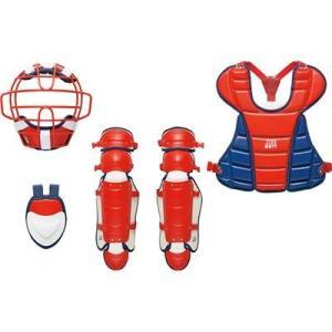 ZETT 展示会限定品 少年用軟式防具4点セット(マスク、スロートガード、プロテクター、レガーツ) BL717A レッド×ネイビー 野球|kanisponet