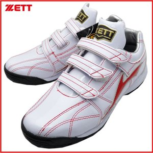 ZETT 展示会限定品 トレーニングシューズ ラフィエット BSR8862G ホワイト×レッド kanisponet
