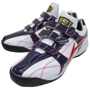 ZETT 展示会限定品 トレーニングシューズ ラフィエット BSR8863G ホワイト×レッド kanisponet