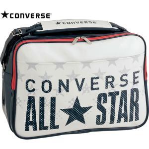 CONVERSE バスケット エナメルショルダー L C1600052 ホワイト×ネイビー コンバース ミニバス|kanisponet
