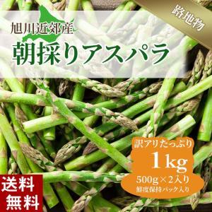 (送料無料)訳あり 北海道グリーンアスパラ 1kg お徳用のわけあり品、サイズが不ぞろいのアスパラガス。北海道産(美瑛産 名寄産)
