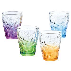 無料包装・無料熨斗名書き ぶどうのグラス4色セット お祝 内祝 ご挨拶 ギフト|kanji