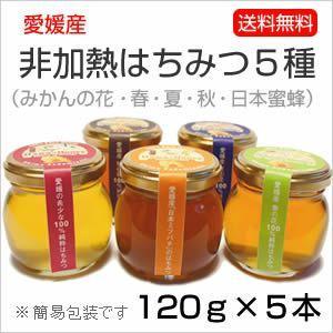 はちみつ5種セット 120g×5本  (みかんの花・春・夏・秋・日本蜜蜂)|kanjyukuya