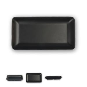 スタイリッシュ メラミン食器 (Mat Black)【長角深皿】□212×112mm 周囲がややせり...