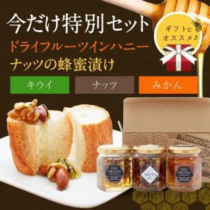 ドライフルーツキウイ・みかんとナッツ(専用箱入り)ドライフルーツインハニーとナッツの健康蜂蜜漬け3本セット はちみつ専門店 かの蜂|kanohachi
