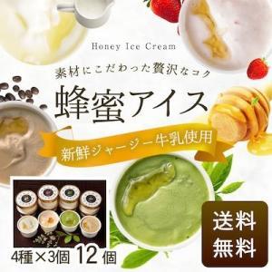 数量限定 はちみつの日 蜂蜜ギフト 蜂蜜アイス12個セット(4種×3)冷凍便 送料無料 国産 アイスクリーム ミルク ストロベリー 抹茶 コーヒー スイーツ kanohachi