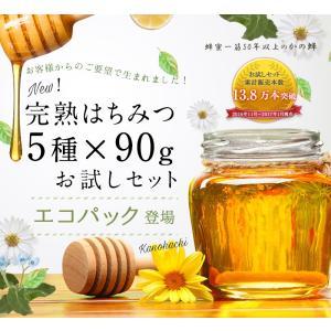 蜂蜜お試しセット エコパック  メール便送料無料 国産外国産の純粋はちみつ30種以上(1つ90g)から5つ選べる  蜂蜜専門店かの蜂|kanohachi