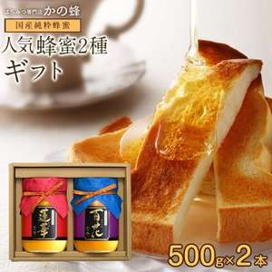 お歳暮 ギフト 蜂蜜ギフト 送料無料 国産蜂蜜ギフト500g×2本セット 蜂蜜専門店 かの蜂|kanohachi