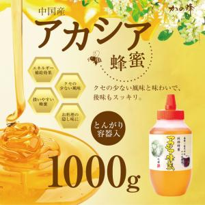 アカシア 蜂蜜 中国産 とんがり容器入り 1000g はちみつ専門店 かの蜂|kanohachi