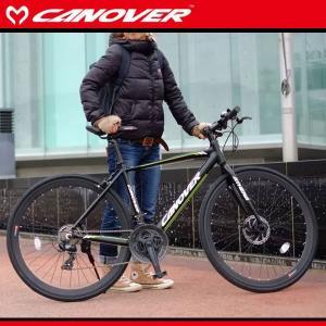 700C クロスバイク ブラック シマノ21段変速 軽量 アルミフレーム ディスクブレーキ ライト スタンド 自転車 CANOVER カノーバー cac-027 kanon-web