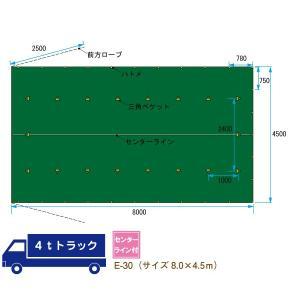 トラックシート 4t トラック サイズ 8.0m×4.5m 平シート ゴムバンド付 E-30 緑 グリーン おすすめ kanryu