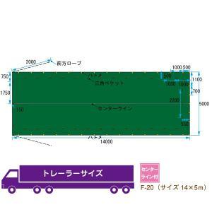 トラックシート トレーラー サイズ 14m×5m 平シート ゴムバンド付 F-20 kanryu
