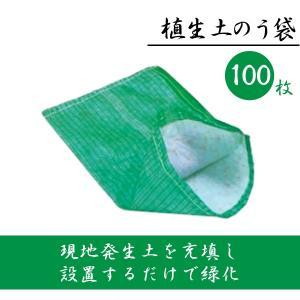 植生土のう袋 土嚢袋 緑化 グリーン 100枚 ( 50枚 × 2袋 )  サイズ400 x 600 mm 温暖化 対策 環境 問題 整備 道路 資源|kanryu