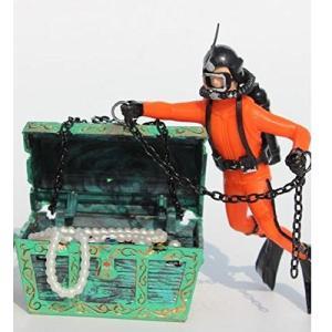 宝箱 と ダイバー アクアリウム 水槽 オーナメント  エアーポンプ 接続 可 オブジェ レイアウト 内装 熱帯魚 観賞魚 (オレンジ)|kanta-store
