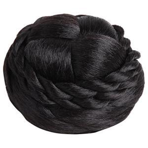 [N-hilfe] 編み込み シニヨン ネット 付き レディース ポイント ウィッグ お団子 つけ毛 髪飾り (ブラック)|kanta-store