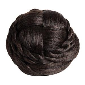 [N-hilfe] 編み込み シニヨン ネット 付き レディース ポイント ウィッグ お団子 つけ毛 髪飾り (ナチュラルブラウン)|kanta-store
