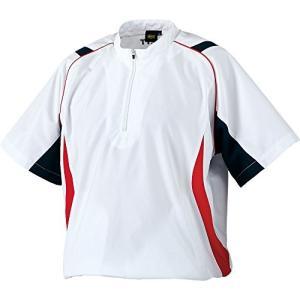 ZETT(ゼット) 野球 ハーフジップジャンパー (半袖・ハーフジップ) ホワイト/ネイビー M BOV530H|kanta-store