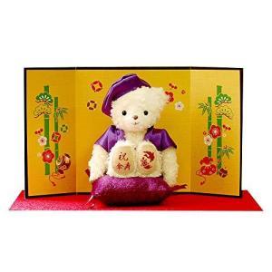 【プティルウ】傘寿に贈る、紫ちゃんちゃんこを着たお祝いテディべア (金屏風)ノーマル|kanta-store