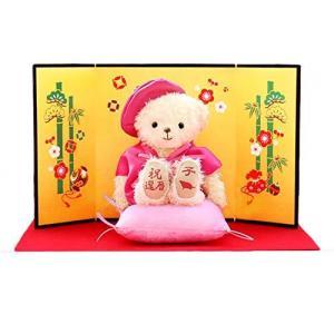 【プティルウ】百寿に贈る、桃色ちゃんちゃんこを着たお祝いテディベア(金屏風) ノーマル|kanta-store