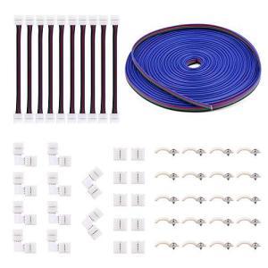 5050 4ピンLEDストリップコネクタキット-10mm RGB LEDコネクタ、 RGB延長ケーブル、LEDストリップジャンパー、L字型コネクタ、ギ|kanta-store