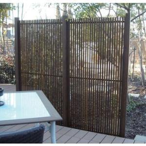 グローベン 人工竹垣 縞クラシック スリム H1800 ブロンズ柱 基本+連結セット|kantoh-house