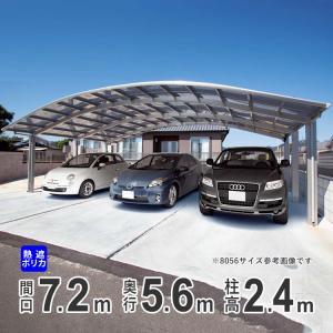 カーポート 3台用 国内一流メーカー品  シンプルカーポート ハイルーフ 熱線遮断ポリカ 7256|kantoh-house