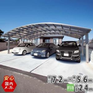 カーポート 3台用 国内一流メーカー品  シンプルカーポート ハイルーフ ポリカ 7256|kantoh-house