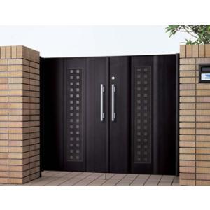 門扉 アルミ門扉 エクゼウス9型 両開き 門柱タイプ 1016 YKKap ハイグレードな門扉|kantoh-house