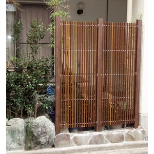 グローベン 人工竹垣 縞モダン スリム H1800 アルミ柱 基本セット kantoh-house