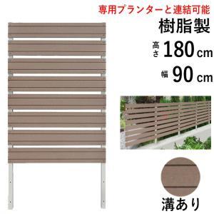 フェンス ガーデン 目隠し おしゃれフェンス ガーデニング 木目調 樹脂製 高さ180cm×幅90cm アーバンタイプ(溝あり) フェンス単体|kantoh-house