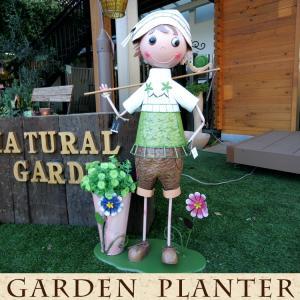 ブリキの人形 オブジェ ガーデン用 人形  ブリキ製 ポット付き 大きいサイズ 男の子 kantoh-house