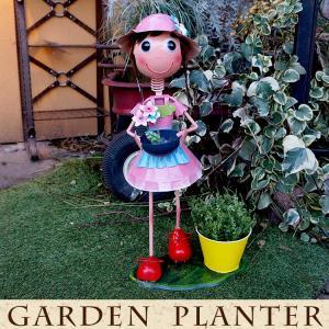 ブリキの人形 ガーデン用 オブジェ 人形  ブリキ製 ポット付き 高さ54cm 女の子|kantoh-house