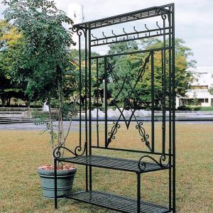 アイアン製のベンチ兼花台/ハンガーフックなど一体型 植物を這わせれば素敵なエクステリア パレットベンチ アイアンベンチ タイプA|kantoh-house