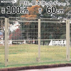 メッシュ門扉 シンプルメッシュ門扉2型 両開き 門柱タイプ 扉幅995mm×2 高さ600mm|kantoh-house